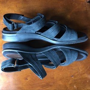 Black ecco Nubuck Leather Velcro Sandals